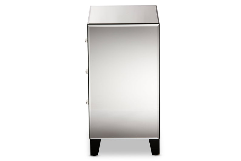 Remy Mirrored 3-Drawer Nightstand Bedside Table