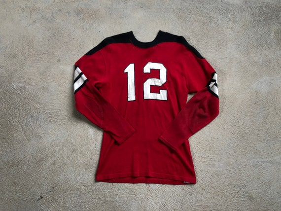 Vintage 1950s Football Jersey Faded Torn Repaired