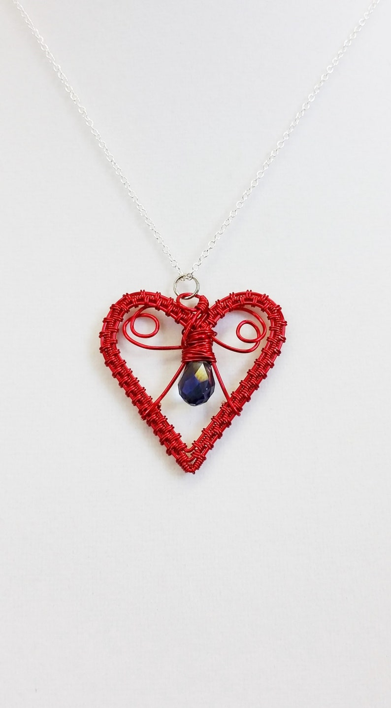 Red Heart Necklace Copper Wire Weave and Crystal