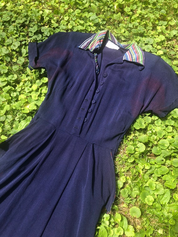 Navy 1940s Rayon dress with candy stripe detailing