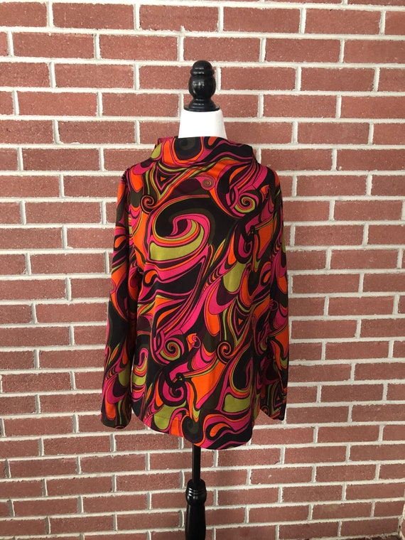 1960s/70s groovy psychedelic print long sleeve top