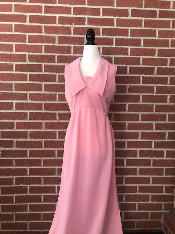 1970s rose pink maxi dress
