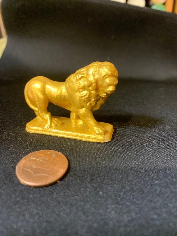 Miniature Dollhouse Gold Colored Lion Statue Figurine