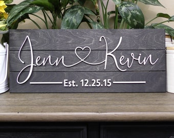 Couples Name with Heart and Established Date, Raised Lettering for 3D Look, For Wedding, Housewarming, Bridal Shower, Anniversary, Home Sign