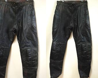 80s Mens Vintage Motorcycle Leather Pants, Black High Waist Panelled Biker Harley Jim Morrison Motor Bike Trousers 1980s VTG Size M-L 34