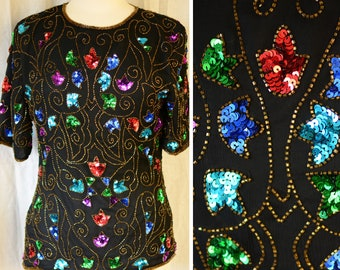 Steinay rainbow silk blouse  | vintage 1980s gold and multicolor designer sequined top, size small