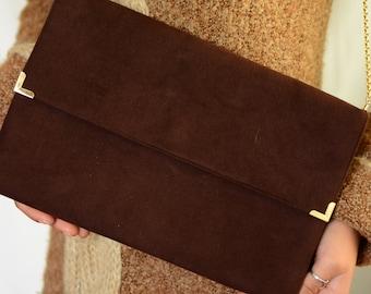 M'Lady Originals seventies chocolate brown shoulder bag | flat suede brown handbag, clutch with golden accent, crossbody bag