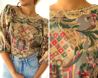 Diana Taylor wallpaper eighties blouse | vintage 1980s designer puff sleeve top, size small