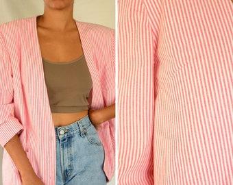 The candy stripe blazer | vintage handsewn long sleeve striped boxy cotton jacket, x large