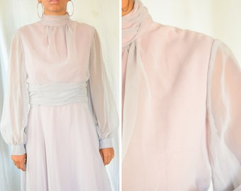 Celyce Designs sheer lilac eighties formal gown | vintage 1980s long sleeve lilac and pink, high neck evening gown, size 8