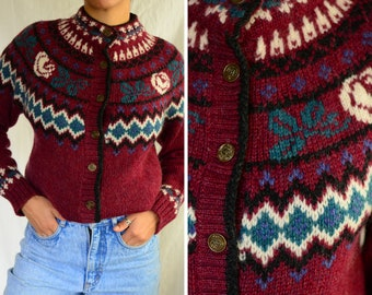 Woolrich nineties wool purple cardigan  | vintage 1990s button down fair isle mohair sweater, small