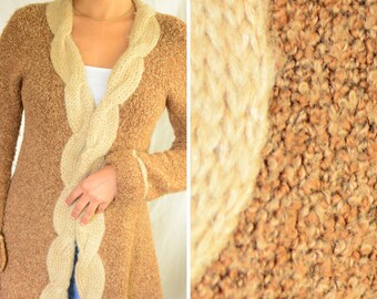 Anthropologie wool seventies inspired long sweater | 1970s-inspired tan brown toggle outer layer cardigan, size small