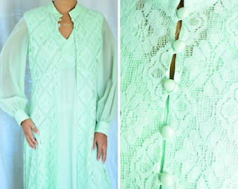 The House of Nu-Mode mint green seventies formal gown | vintage 1970s long sleeve v neck evening gown, two pieces, lace shawl, size 7/8