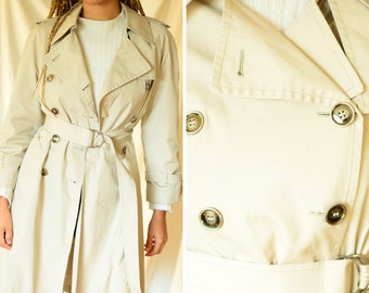 London Fog seventies mid length beige trench coat | vintage 1970s checkered lining trenchcoat, petite, small