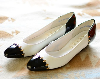 Selby wingtip heels | 1980s retro slip on block pumps, black and white coor cut out, size 6
