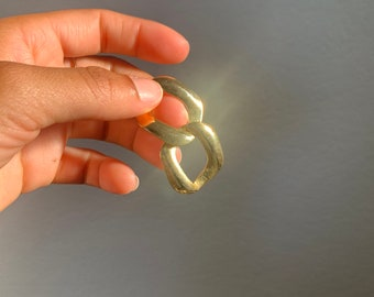 Hammered open disc gold tone earrings, drop chandelier earrings, post dangle earrings