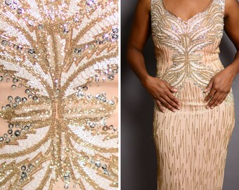 Black Tie dramatic back evening beaded sequin twenties inspired dress | vintage 1990s peach prom/party great gatsby silk dress size 4