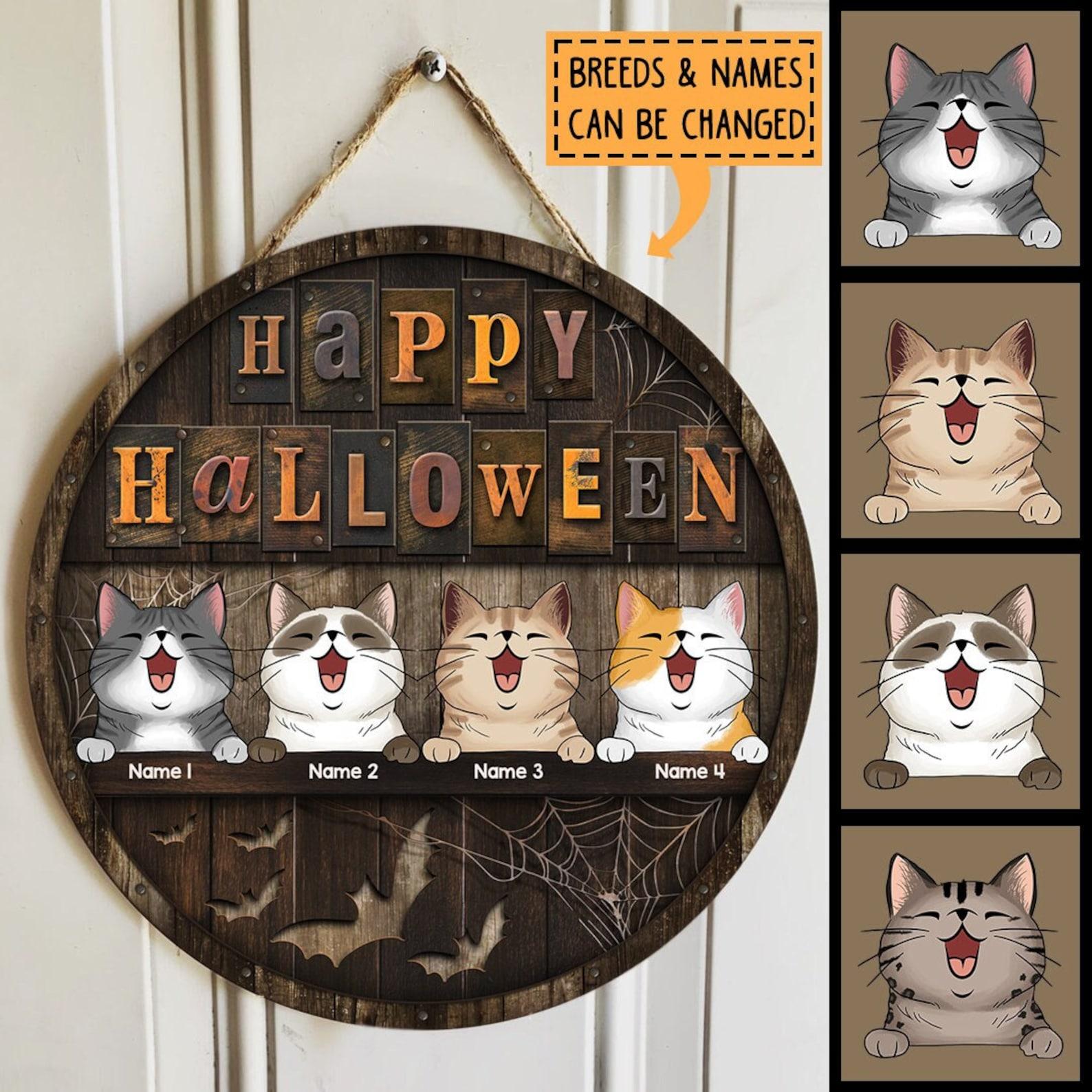 Personalized Halloween Cat Door Hanger
