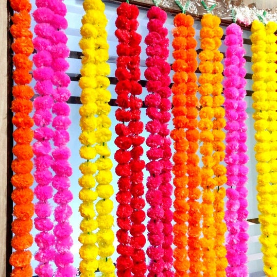 10 Pc White Artificial Marigold Flower Garlands Indian Event Decoration Strings