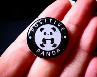 Positive Panda Pin Handmade, Resin, Epoxy