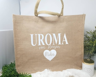 personalized jute shopping bag large - grandma, great-grandma, mom, aunt from the heart with name