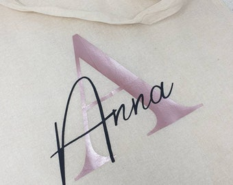 Personalized shopping bag bag with name and letters, individual design