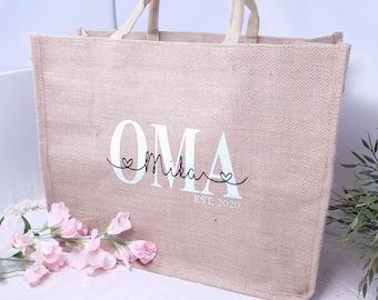 personalized jute shopping bag