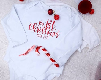 MY FIRST CHRISTMAS Personalized baby body with name, gift for baby, first Christmas, individually designed, Christmas gift