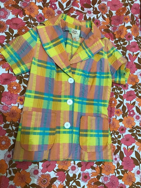 1960s seersucker rainbow vintage blouse