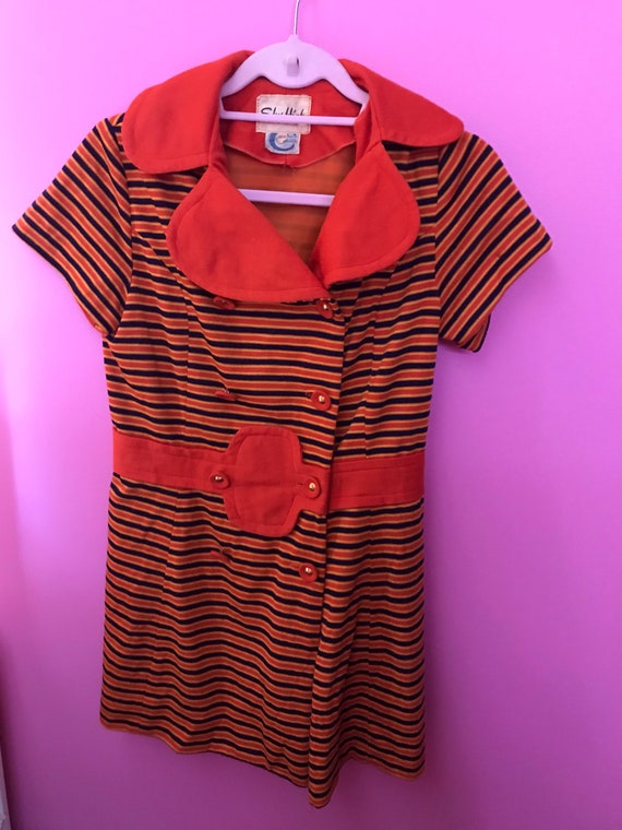 Vintage 1970's stripe shirt dress