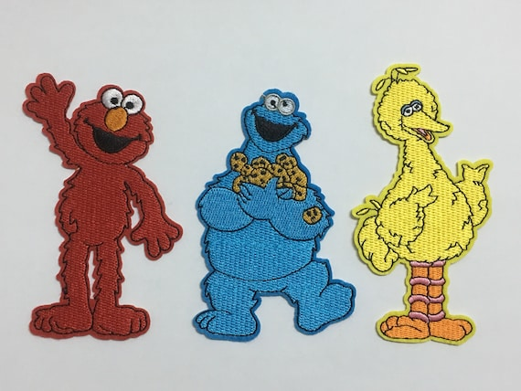 Elmo Cookie Monster Big Bird Sesame Street Patches Cartoon Patches Applique Embroidered Iron On Patch