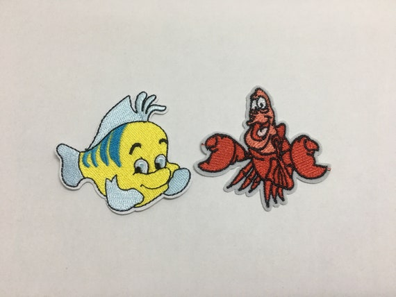 The Little Mermaid Flounder Fish Embroidered Iron//Sew ON Patch Cloth Applique