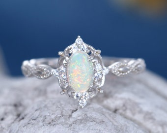 Oval cut Opal engagement ring women 14k white gold diamond vintage engagement ring Antique cluster diamond wedding anniversary gift ring