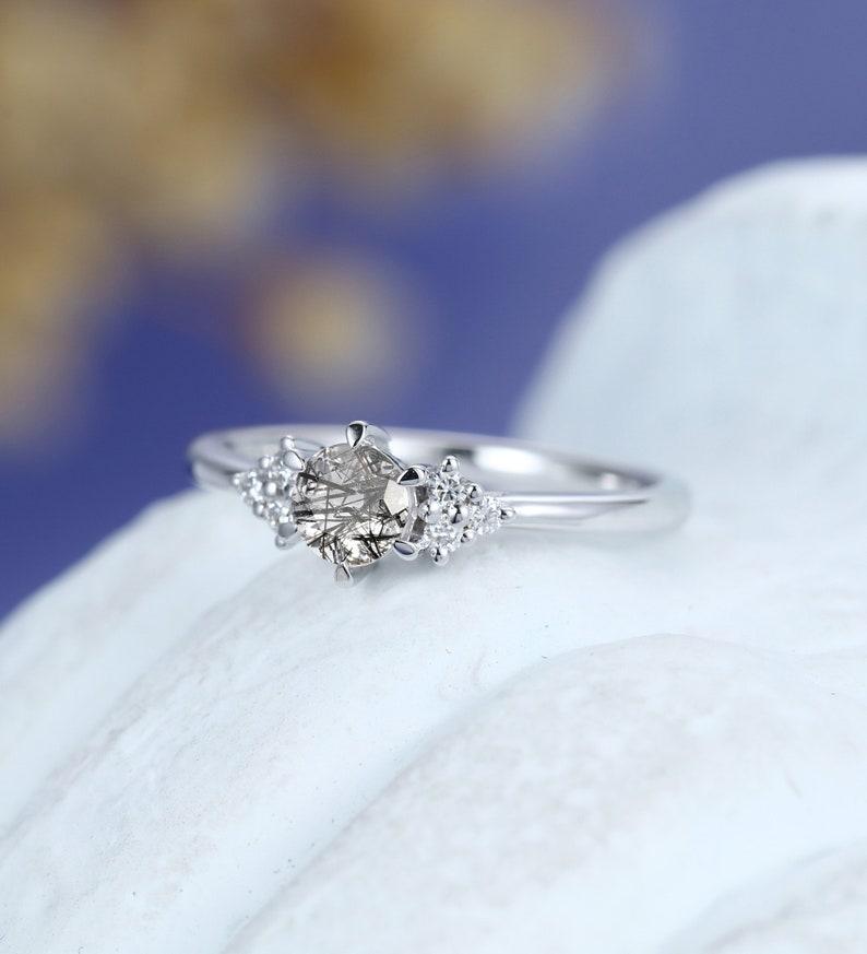 Black Rutilated Quartz engagement ring Solid 14k white gold engagement ring vintage engagement ring Uniquer Bridal Anniversary ring