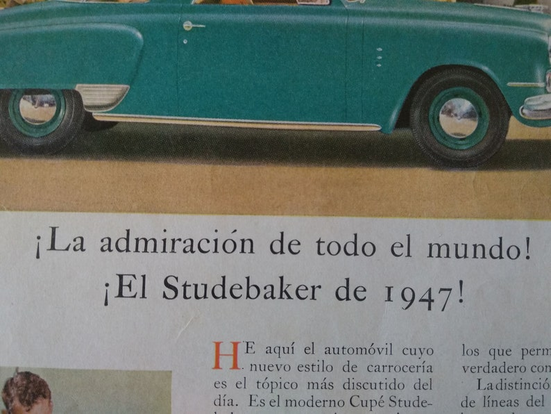 Original vintage 1947 SPANISH ADVERTISING STUDEBAKER classic car motor america usa atrezzo wallart decor print style old retro antique