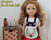 Hand embroidered apron (folk art of Hungary) for American Girl Doll, for 18 inch dolls, One Generation, and My Life.