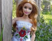 1pc hand embroidered (folk art of Hungary) dress for curvy Barbie, barbie dress, barbie clothes, made to move fashionistas barbie clothes
