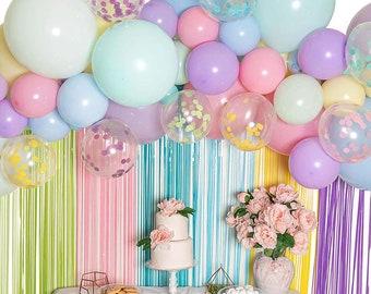 Star Heart Folie Luftballons Krone Luftballons Rose Gold Party Dekorationen alles Gute zum Geburtstag Konfetti Luftballons mit DIY Cake Topper Champagner Folie Luftballons Fransen Vorhang Banner