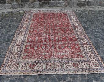 Home Decor Rug  #TR2819 Organic Rug 3.2 x 7.8 ft Vintage Rug Area Rug Wool Rug Turkish Rug Etsy Rug Oushak Rug Antique Rug