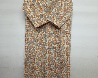 Indian Hand Block Kantha Quilted Kimono Robe Pure Cotton FLORAL Bath Robe Dressing Gown Beachwear Nightwear Swimwear Long