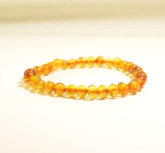 Cognac Amber Red Coral Amber Bracelet Baltic Amber Organic .Gift for Him Elastic Baltic Amber Bracelet