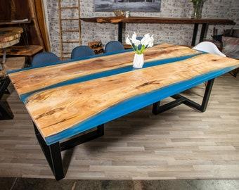Blue Epoxy Maple Table