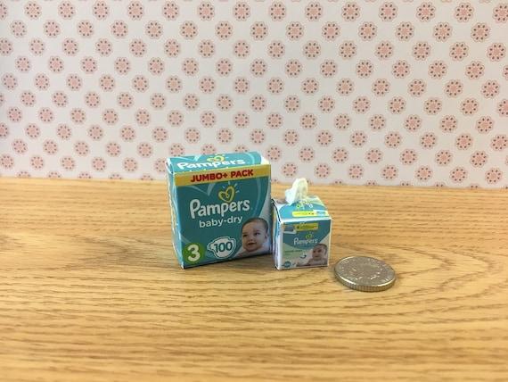Miniature Brand Diaper Wipes Package for DOLLHOUSE Baby Diaper Bag 1:12 Scale