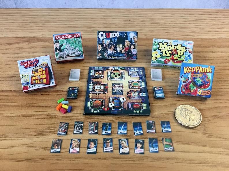 Dollshouse Miniature Board Games Set Of 6 Cluedo Kerplunk Guess Who More 16 Scale 112 Scale Dolls House Furniture