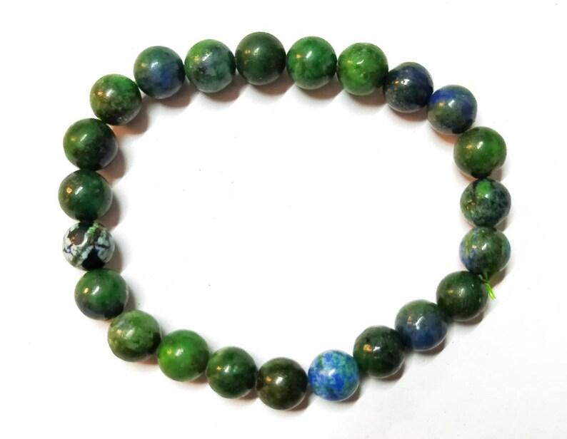 Genuine Azurite Malachite Jewelry Mens Womens Unisex 8mm Stretch Beaded Bracelet Azurite Bracelet