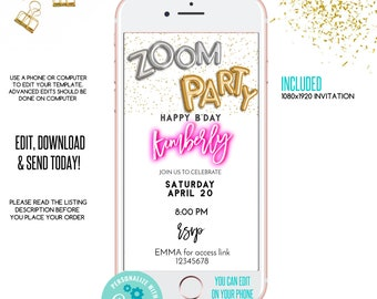 Zoom Birthday Invitation Zoom Adult Blue Flower Birthday Invitation for Women INSTANT DOWNLOAD Any age Any language Virtual Invitation