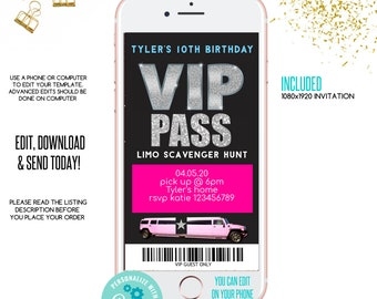 birthday invitation 21st birthday VIP PASS backstage pass cocktail party Birthday party party bus wedding bachelor Limo pass
