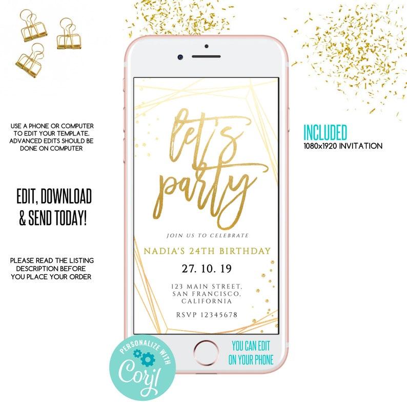 Lets Party E Invitation Announcement Invite Birthday Editable Template Gold
