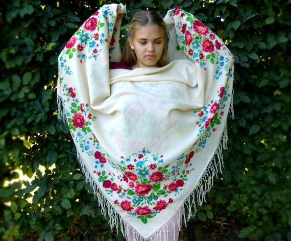 Russian shawl with fringe Antique shawl Piano shaw