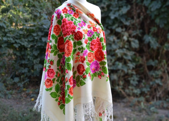 100% wool Piano shawl Chale russe Blanket scarf